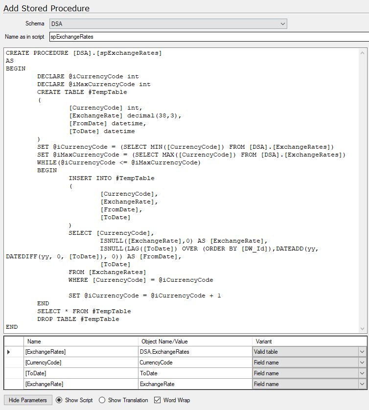 How to use a Stored Procedure – TimeXtender