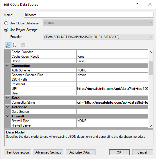 Connect to JSON with a CData data source – TimeXtender